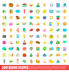 100 bank icons set cartoon style vector