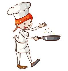 A simple sketch of a female chef vector
