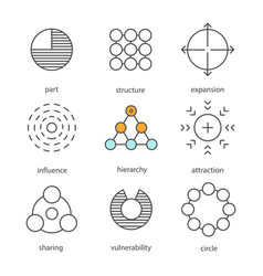 Abstract symbols linear icons set vector