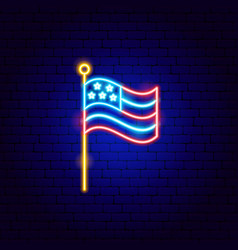 american flag neon sign vector image