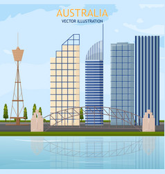Australia architecture cityscape skyscrapers view vector