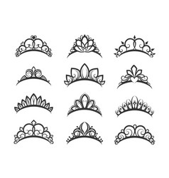 Beautiful queen tiaras set vector