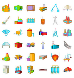 big building icons set cartoon style vector image