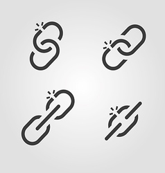 Broken chain link icons vector image