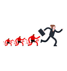 Businessman runs away from devil satan is running vector