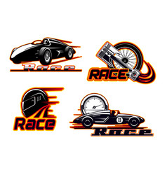 Car races motor speed racing auto engine icons vector