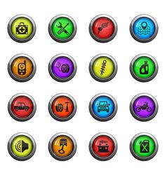 car shop icon set vector image