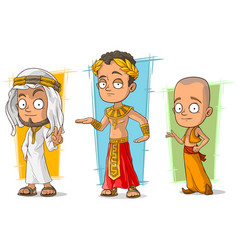 Cartoon arabian egyptian and asian character set vector