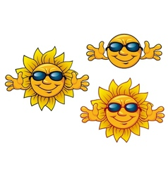 cartoon smiling sun characters with sunglasses vector image
