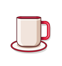 Cartoon style mug with saucer on white background vector