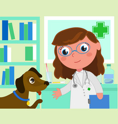 cartoon vet office with dog vector image