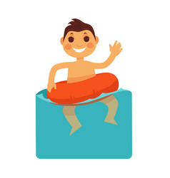 cheerful boy in blue water with life buoy vector image