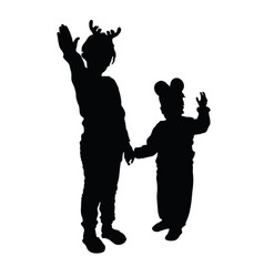 child silhouette playing in black color vector image