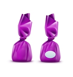 Chocolate Candy in Purpule Wrapper on Background vector image
