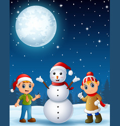 christmas elf kids with snowman in the winter nigh vector image