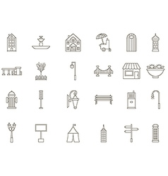 City elements black icons set vector