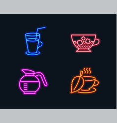 Cocktail cold coffee and coffeepot icons mint vector
