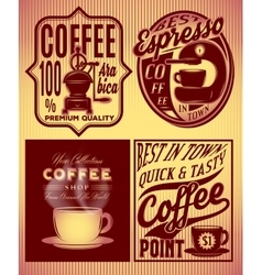coffee patterns with inscriptions in retro style vector image