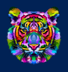 Colorful tiger head isolated on blue background vector