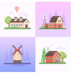 country landscape - set of modern flat design vector image
