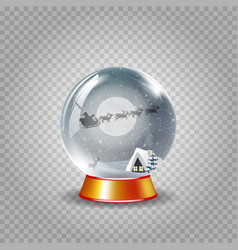 crystal snow globe of winter night landscape with vector image
