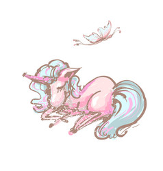 Cute unicorn and butterfly sweet dreams print vector