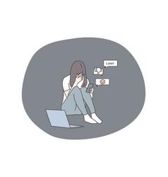 Depression bullying bad news social media vector