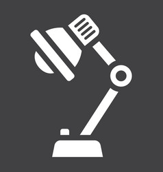 desk lamp solid icon bulb and light vector image