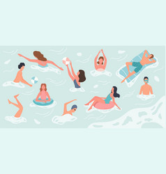 different people swimming and rests in sea or vector image