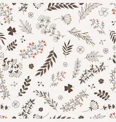 doodle floral branches seamless pattern vector image