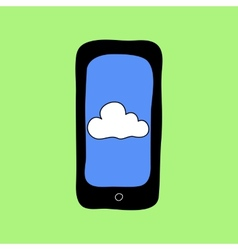 Doodle style phone with cloud vector