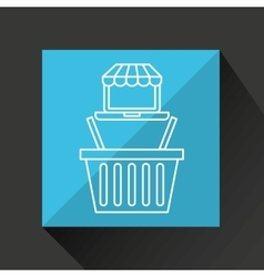 Drawing ecommerce laptop basket shop icon vector