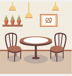 Flat bakery store interior with table covered with vector