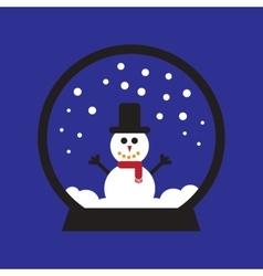Flat icon on blue background Snowman snow globe vector