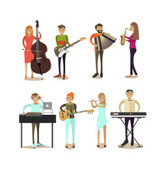 Flat icons set of musician characters vector