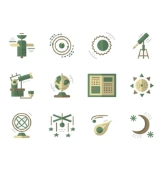 Flat simple icons for Astronomy vector image