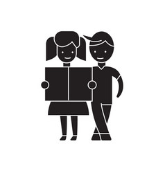 girl and a boy reading black concept icon vector image