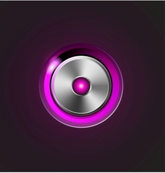 Glossy media player metal button vector image