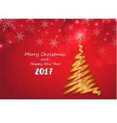Gold ribbon make Christmas tree shape on red snowf vector image