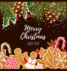greeting christmas card vector image