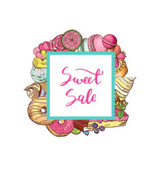 hand drawn colored sweets vector image