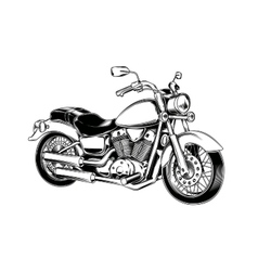 Hand-drawn vintage motorcycle Classic chopper vector