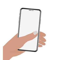 hand holding phone on white screen vector image