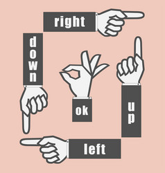 hand sign with pointing finger and gesture ok vector image