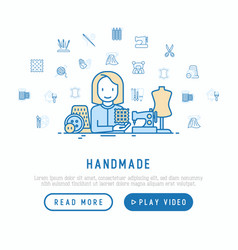 handmade concept seamstress with sewing machine vector image