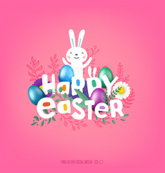 happy easter cover greeting card with comic style vector image