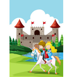 happy prince and princes at castle vector image