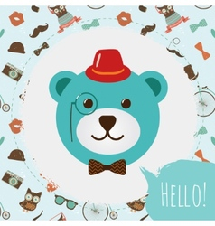 Hipster Bear Head Card vector image