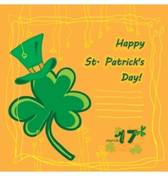 Irish st patrick day party card with flat symbols vector image