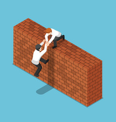 Isometric businessman help his friend to climbing vector